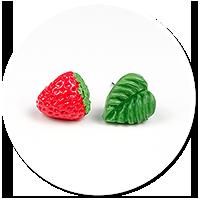 kolczyki wtykane truskawka i liść