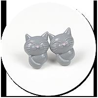 kolczyki wtykane koty