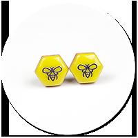 kolczyki wtykane z pszczołą nr 3