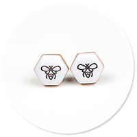 plug-in earrings with bee no. 4