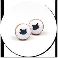kolczyki wtykane ciasteczka z kotkami