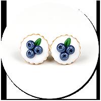 kolczyki wtykane tarty z jagodami nr 2