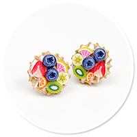 plug-in earrings waffles with friuts