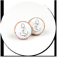 kolczyki wtykane ciasteczka z kotwicą nr 3