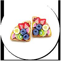 kolczyki wtykane gofry z polewą i owocami