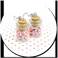 kolczyki świąteczne słoiczki z cukierkami