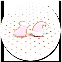 kolczyki wtykane ciasteczka (czapka i skarpeta)