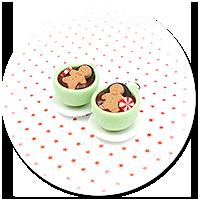 kolczyki świąteczne filiżanki z gorącą czekoladą