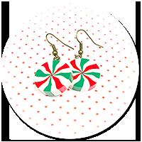 kolczyki świąteczne wiszące cukierki