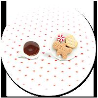 świąteczne kolczyki wytkane kawa ze słodyczami