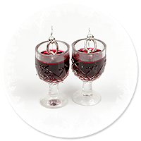 earrings glass with red wine